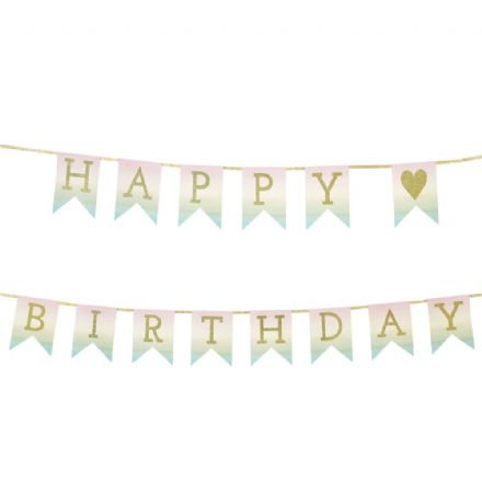 Pastel Hanging 'Happy Birthday' Banner - 3m
